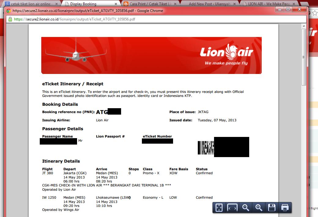 Cetak Sendiri Tiket Booking Lion Air Anda Secara Online