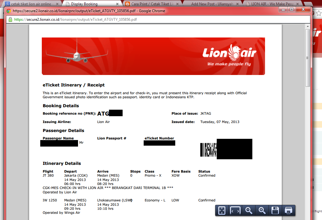 cetak sendiri tiket booking lion air