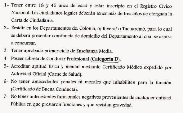 Llamado Ceip Choferes Para Rivera Colonia Y Tacuaremb