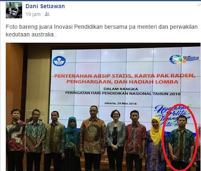 Kakakku Dani Setiawan, Peraih Juara 1 Kontes Inovasi Pendidikan 2016 dan Lulus S2 'Cumlaude'