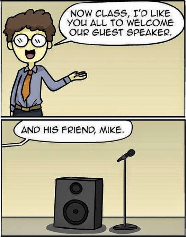 Funny Guest Speaker Mike Pun Cartoon Picture - And now class, I'd like you to welcome our guest speaker, and his friend Mike.