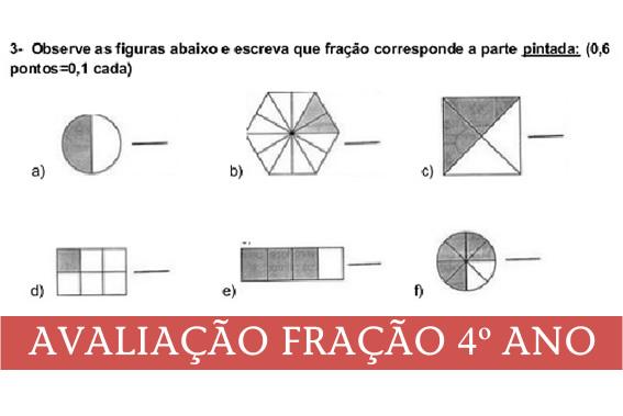 Avaliação de Matemática Fração 4o ano.