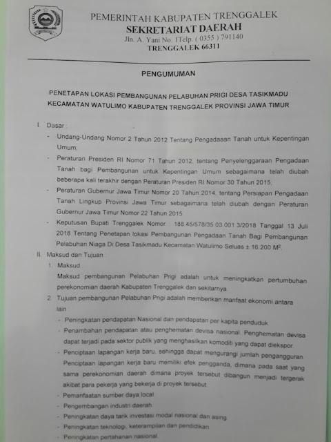 Berikut Kami Sampaikan Penetapan Lokasi Pembangunan Pelabuhan Prigi Desa Tasikmadu Kecamatan Watulimo Kabupaten Trenggalek Provinsi Jawa Timur