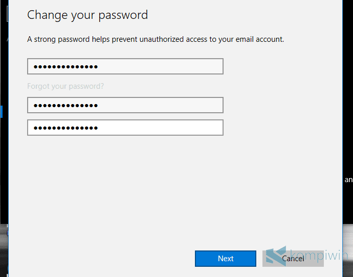 mengganti akun microsoft password