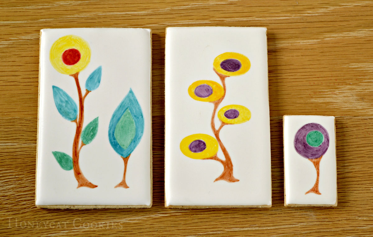 First stage in decorating cookies: handpainted plants, by Honeycat Cookies