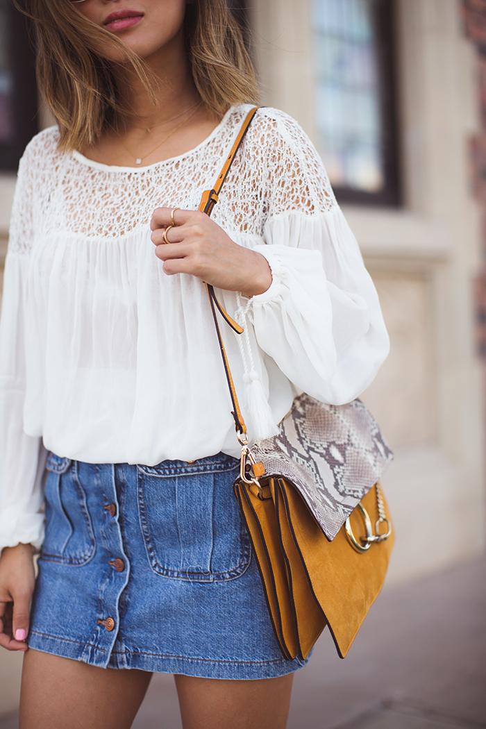 Aimee Song - Denim Button Front Skirt / Chloe Faye Bag
