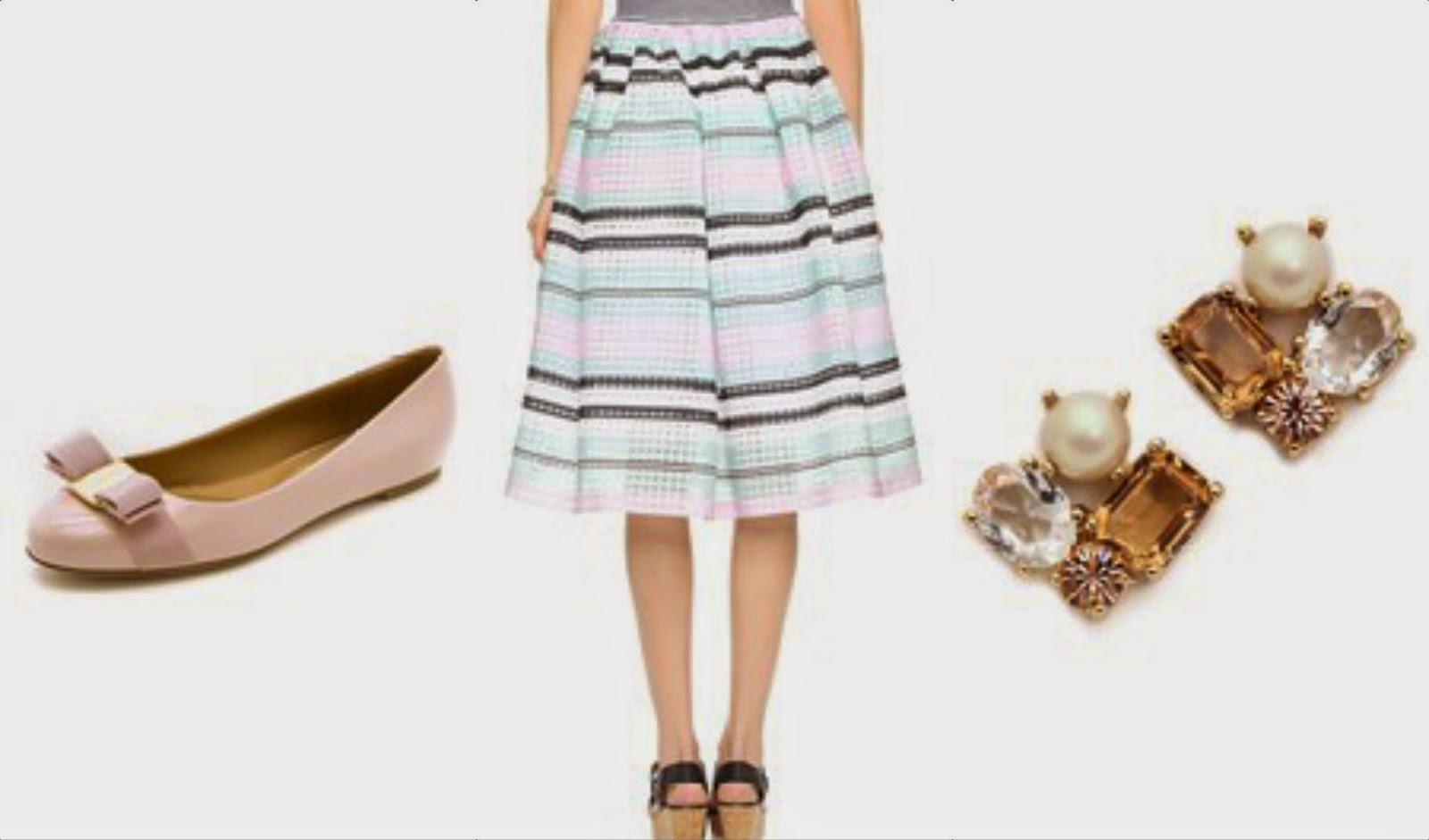ferragamo shoes spring skirt kate spade earrings