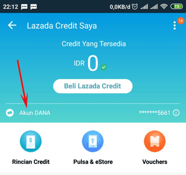 Aktivasi Lazada Credit pakai DANA