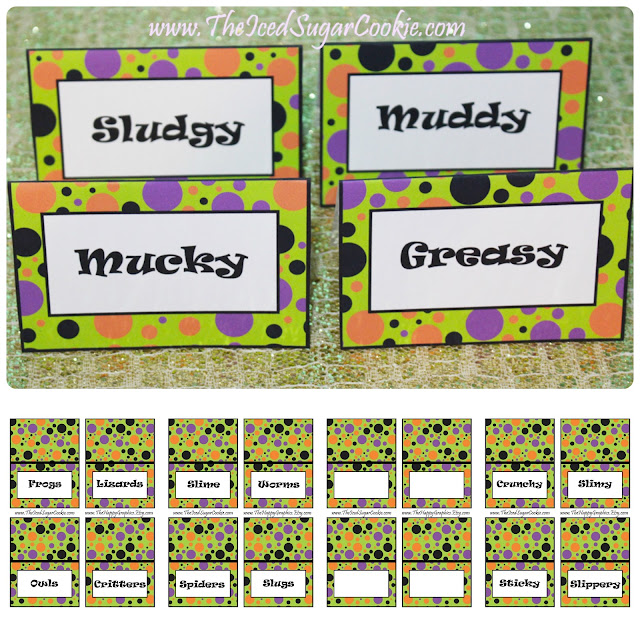 "Monster Bash Birthday Party Food Label Tent Cards ""Monster Party"" ""Silly Monster Party"" ""Fall Halloween Party"" These food cards are a printable digital download for a Monster Bash birthday party, Monster Mash birthday party, Silly Monster birthday party or Fall Halloween birthday party.  You will get 1 ZIP file that includes 40 JPEG food cards that you can print and cut out yourself.  A downloadable link for your food cards will be available to you as soon as you pay.  ***We have also included 2 FREE cupcake topper templates that match.**** These food cards were created on an 8.5x11 sheet and has 4 food cards per page. Each card measures approx 3- 3/4 inch wide and 2- 1/2 inch tall after they have been folded. Here is what your cards say: Slime, Worms, Spiders, Slugs Pumpkin Guts, Bats, Flies, Bugs Hay Bales, Candy Corn, Popcorn Balls, Candy Apples Bones, Hair, Teeth, Eyes Frogs, Lizards, Owls, Critters Cupcakes, Cookies, Punch, Treats Black, Purple, Orange, Green Crunchy, Slimy, Sticky, Slippery Greasy, Muddy, Mucky, Sludgy 4 Blank Food Cards- to type or write your own words Copyright (c) 2016 The Iced Sugar Cookie. All rights reserved. For personal use only. Do not sell these or give them away for free. Graphics by https://www.etsy.com/shop/thehappygraphics"