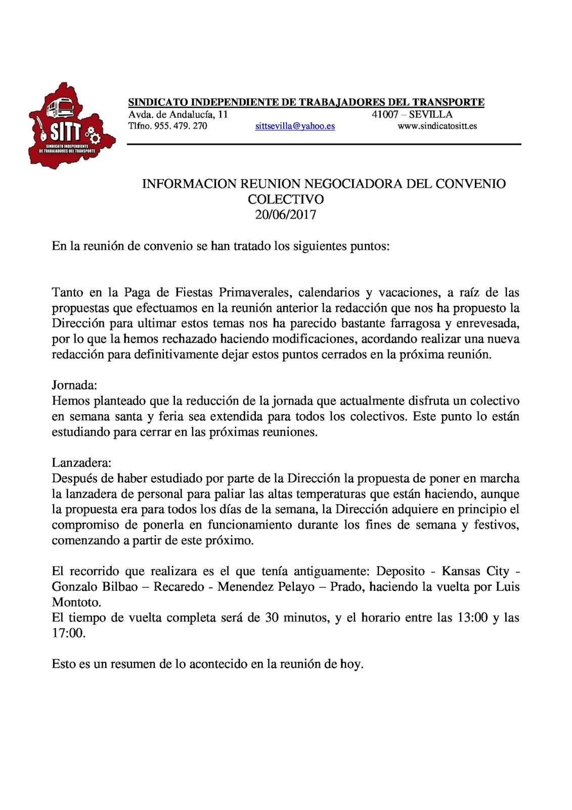 Sitt reunion negociacion de convenio 20 06 17 for Fuera de convenio 2017