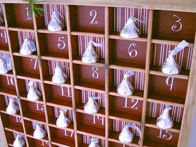 christmas countdown with hersheys kisses
