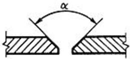 Угол между скошенными кромками свариваемых частей