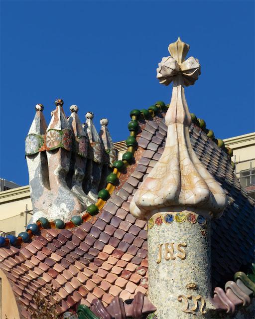 Detail of the roof of Casa Batlló by Antoni Gaudí, Passeig de Gràcia, Barcelona