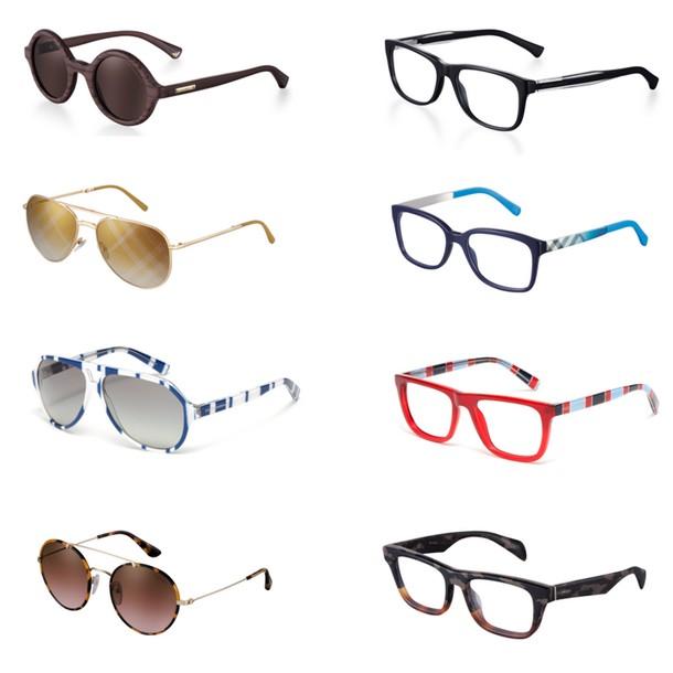 As marcas estão dispostas em linhas (óculos de sol e de receituário), como  indicado abaixo  90a7e8a403