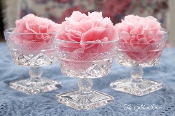 Camellias in Vintage Glassware- www.gildedbloom.com