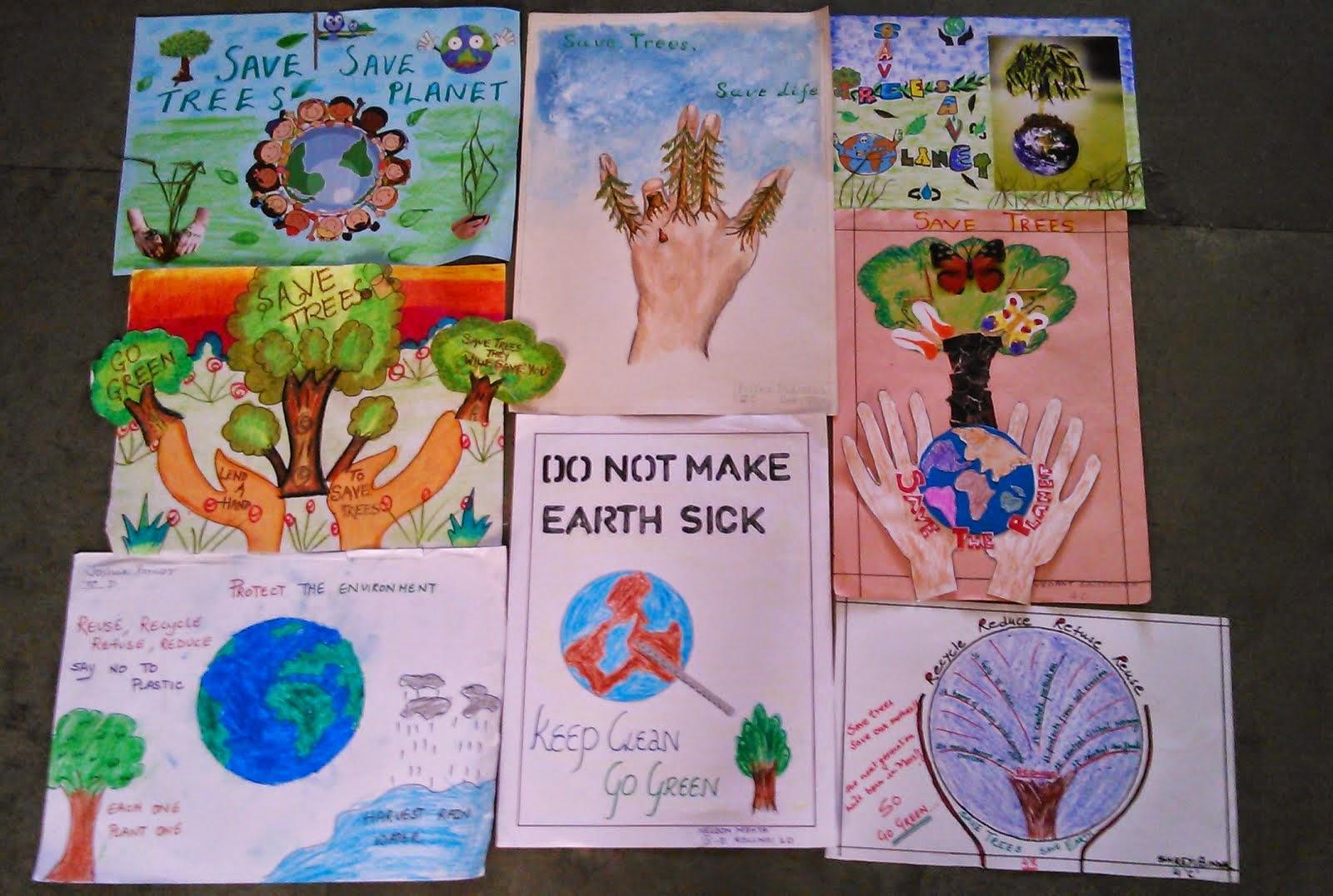Students Were Asked To Design A Poster With Their Parents Help On The Theme Save Trees Planet All Displayed Attractive Posters