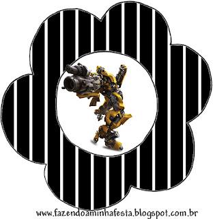 Tarjeta con forma de flor de Transformers.