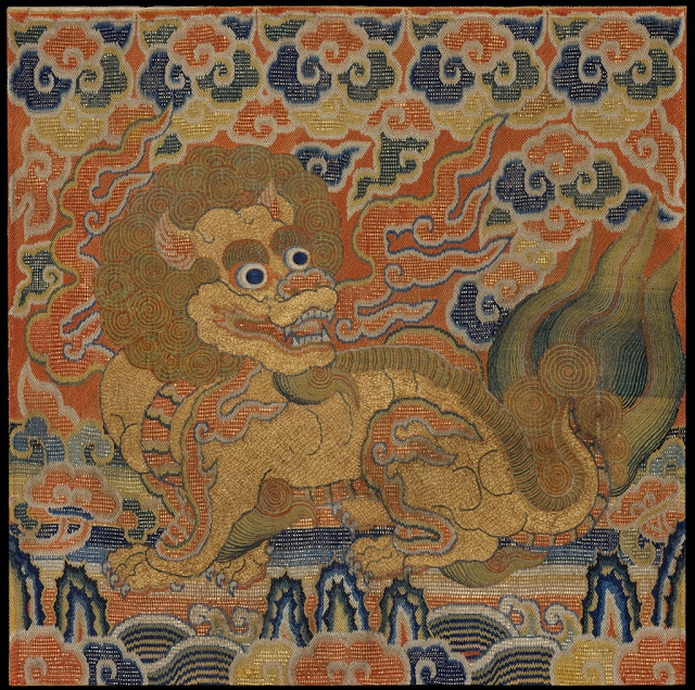 Chinese 15th century embroidered rank badge depicting dragon