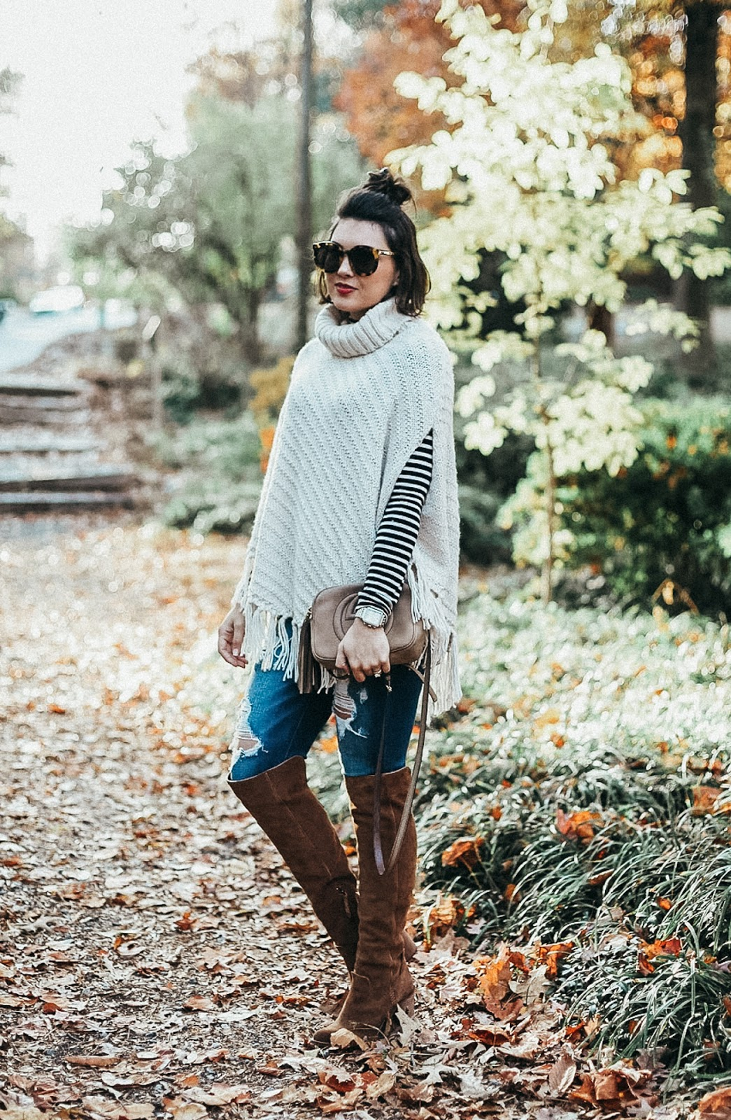 style a sweater poncho, sweater poncho, life and messy hair, samantha brooke, xo samantha brooke, fall fashion, cold weater fashion, givenchy antigona