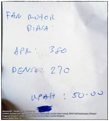 gambar anggaran bil ganti motor kipas radiator enjin kereta