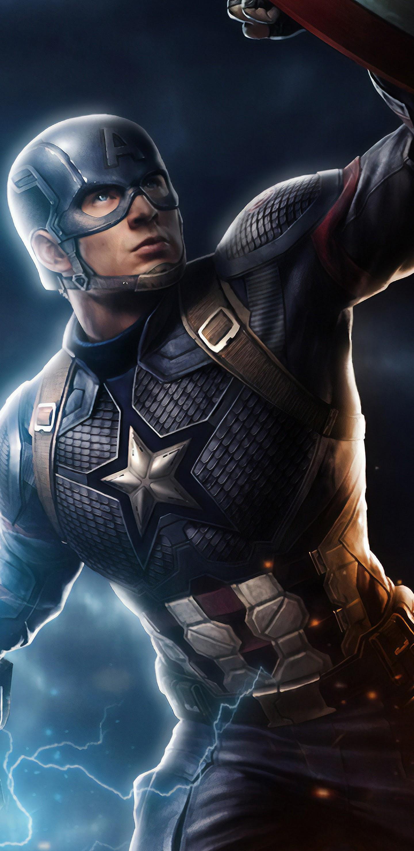 Avengers Endgame Captain America Mjolnir Hammer Lightning 8k