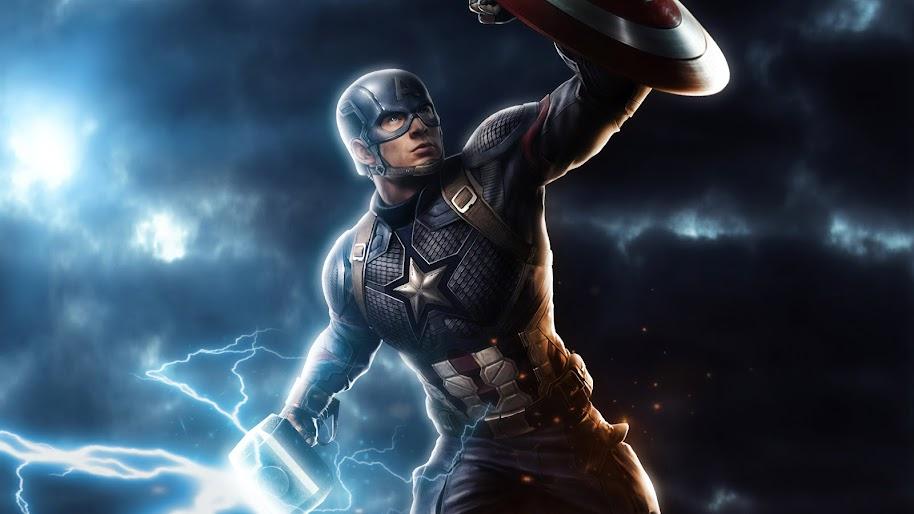 2019 Captain America Mjolnir Avengers endgame Silk Poster 24 X 14 inch Wallpaper