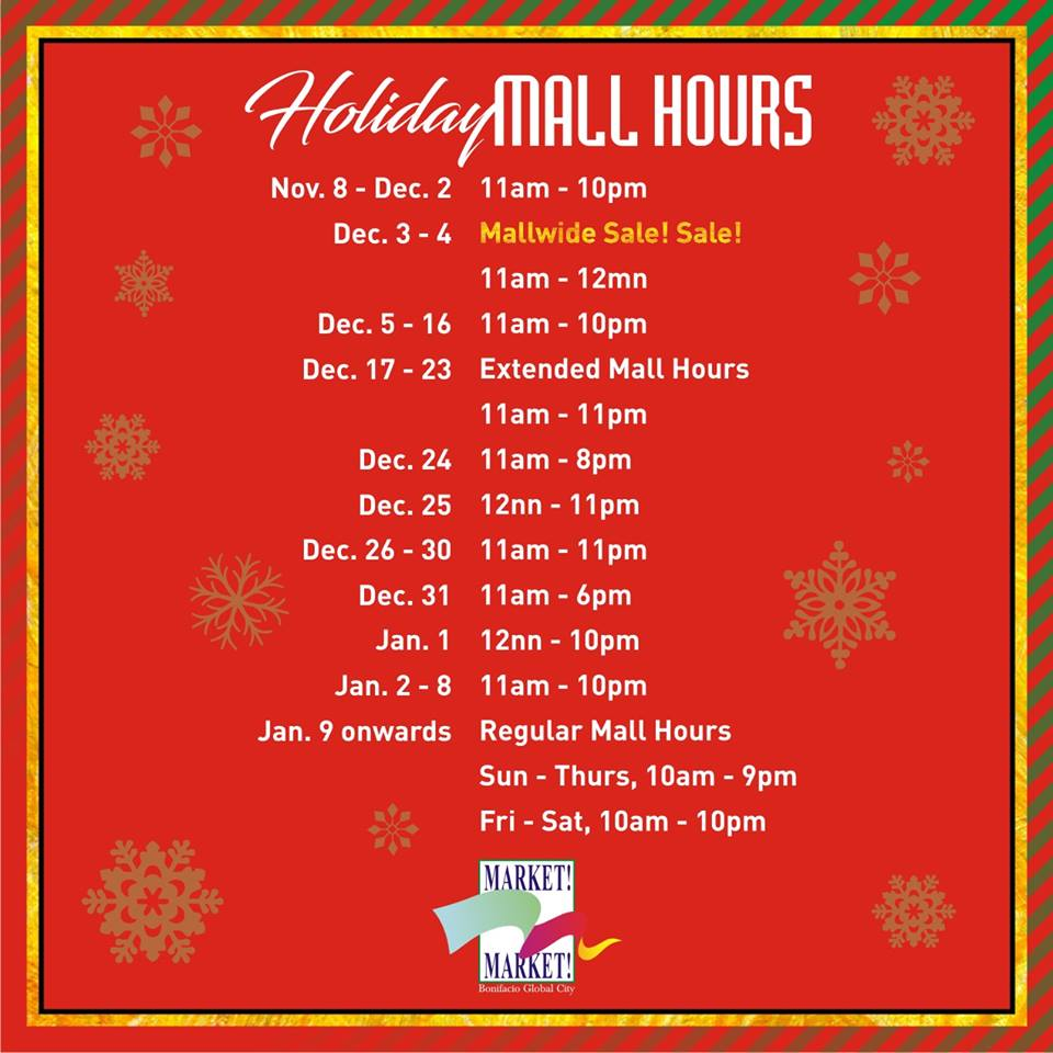 marrket market mall schedule