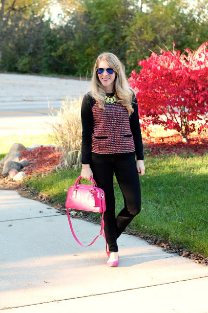 neon and black tweed sweater, black jeans, pink flats, pink bag
