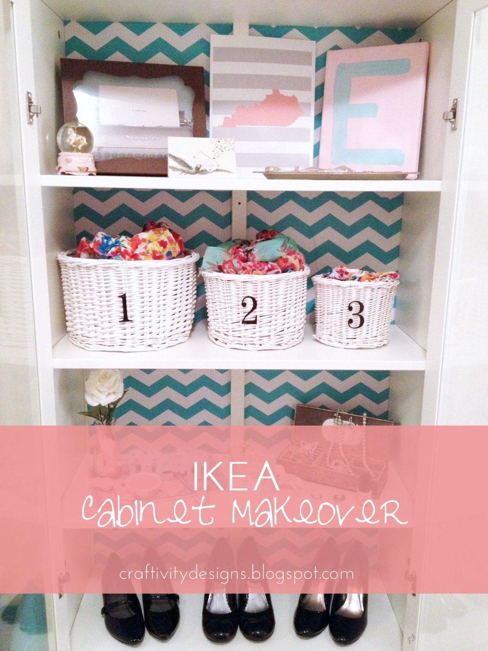 Add contact paper inside a cabinet by Erica from Craftivity Designs ...