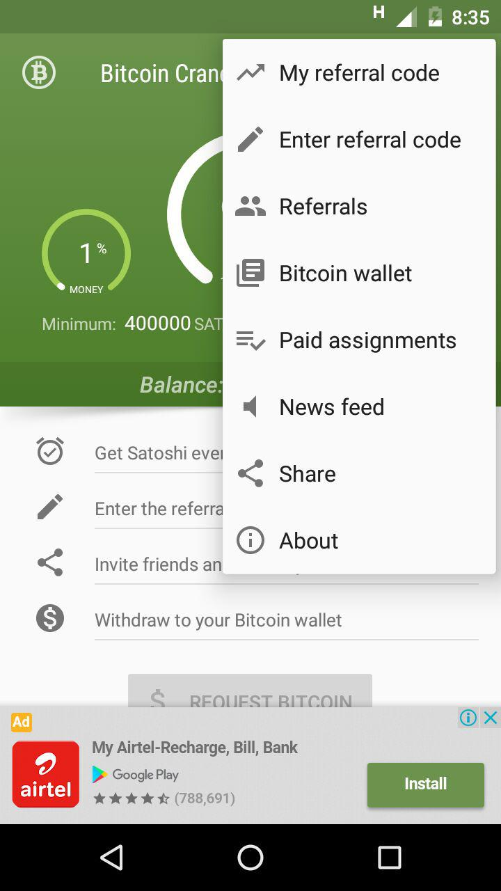 Bitcoin Crane : Earn Bitcoin in Android  Automate using