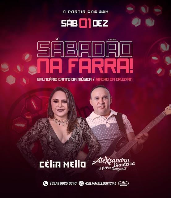 Célia Melo e Alexsandro Bandeira no Sábadão na Farra, dia 01 de dezembro.