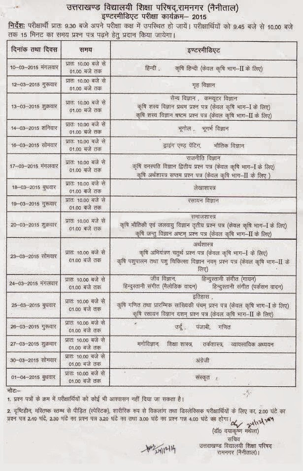 Uttarakhand Board Exams 2014-15 Date Sheet Class 12th