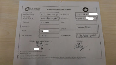 Form pengambilan barang ketinggalan di KRL