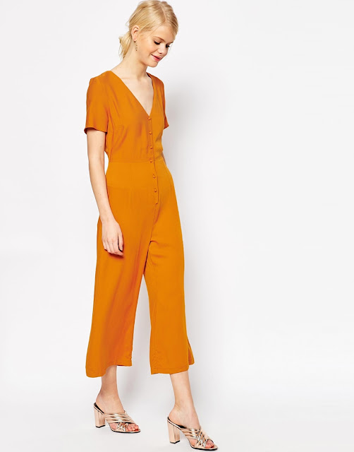 v neck button down jumpsuit,