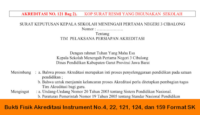 Bukti Fisik Akreditasi Instrument No.4, 22, 121, 124, dan 159 Format SK