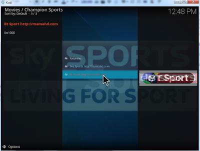 Finished install champion sports kodi addon