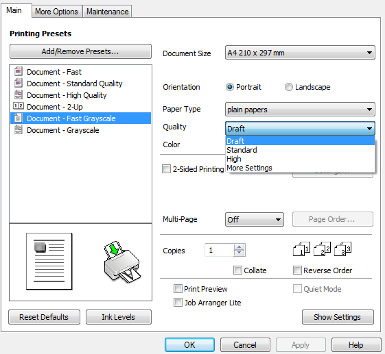 Draft mode print to reduce Epson Printer Ink