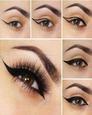 Simple eye makeup with cat tail step by step
