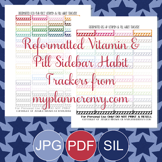 Reformatted Vitamin & Pill Sidebar Habit Trackers - Free Planner Printable