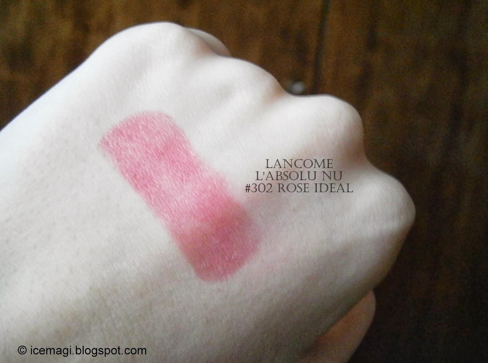 lancome l'absolu nu lipstick 302 voile de rose swatch