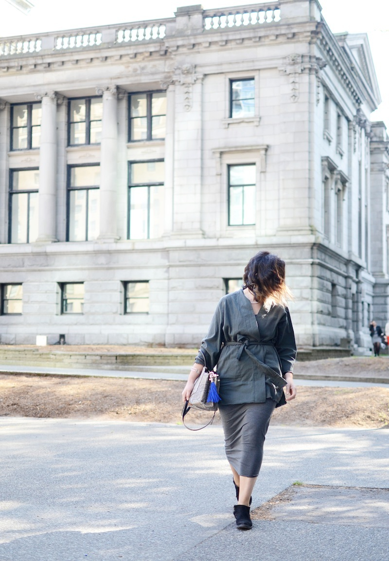Aritzia Wilfred Free Montero kimono jacket, Babaton Freddie Dress, Auxiliary Bega Satchel Vancouver fashion blogger outfit idea
