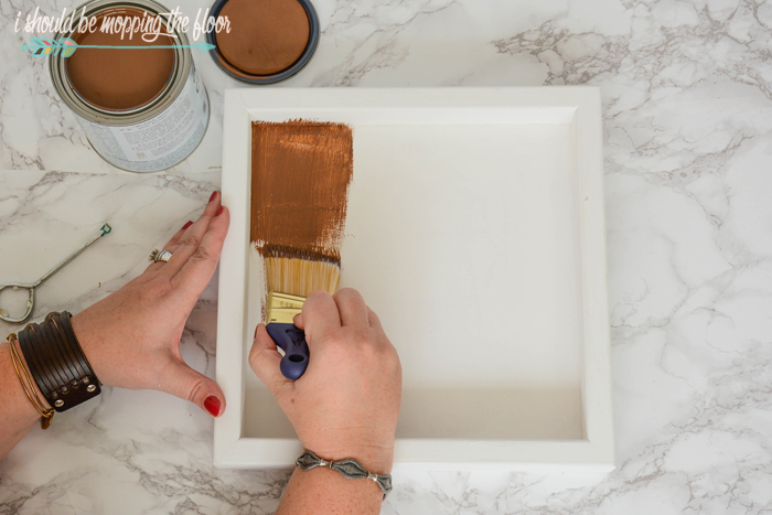 "DIY Coffee Tray | Create this simple little 12""x12"" tray out of a wooden canvas and a fun painting technique."