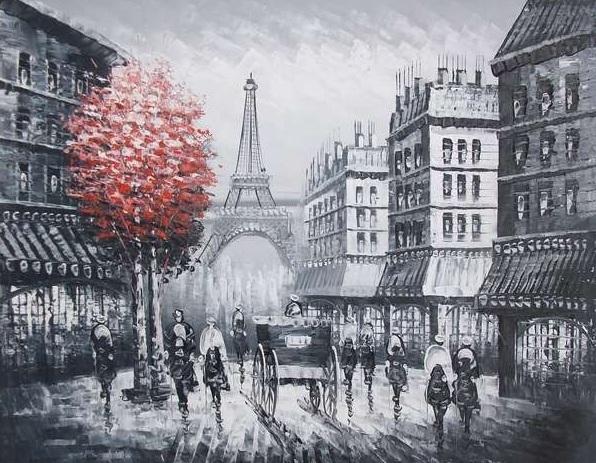 Parigi in bianco e nero dipinto a olio su tela dim.50x60 di dipintinmovimento