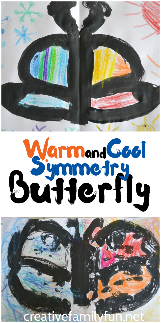 Create symmetry butterflies using warm and cool colors.This is such a fun art project for kids!