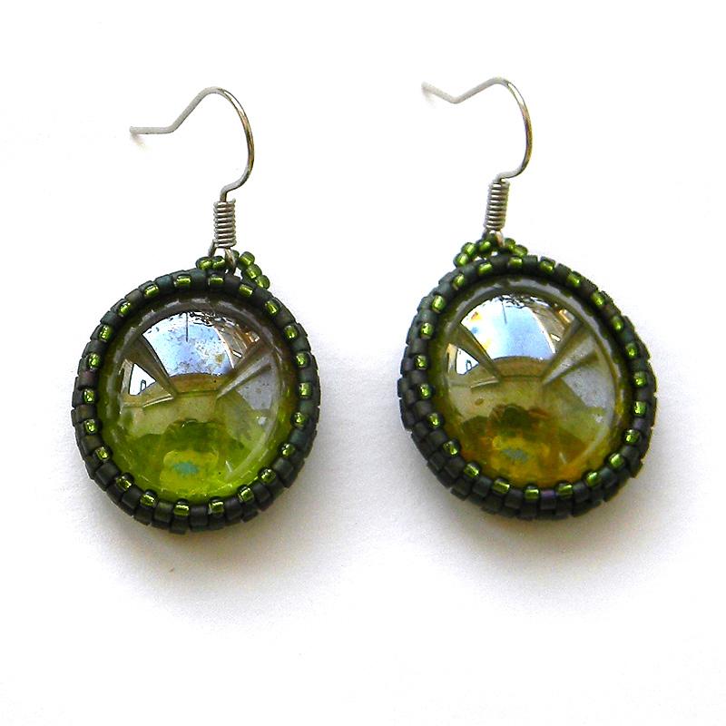 купить оливковые стеклянные серьги минимализм на каждый день подарок девушке