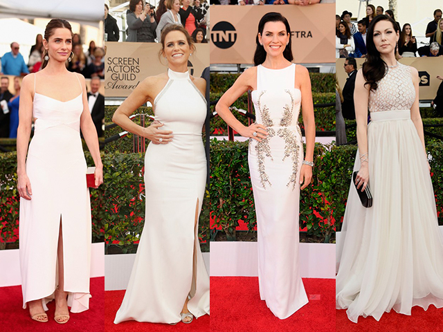 SAG AWARDS 2016 - CELEBRIDADES USANDO BRANCO: Amanda Peet  Amy Landecker  Julianna Margulies  Laura Prepon (FOTO: GETTY IMAGES)