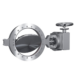 industrial butterfly valve with actuator handwheel