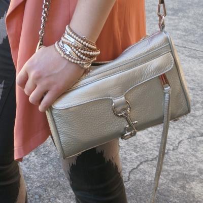 Roie Designs waxed leather cream howlite beaded wrap bracelet, Rebecca Minkoff metallic mini MAC | AwayFromTheBlue