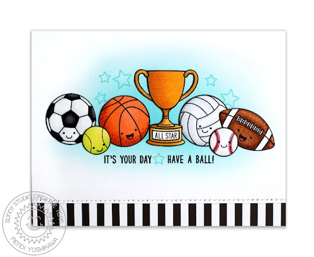 Sunny Studio Stamps: Team Player Have A Ball Sports Themed Card by Mendi Yoshikawa