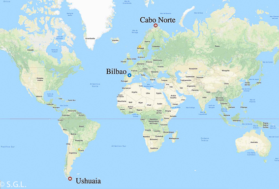 Mapa de Ushuaia al Cabo Norte. Postales